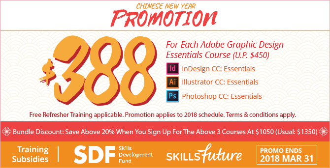 Adobe Training Course Promotions - Photoshop, Illustrator & InDesign at $380 each